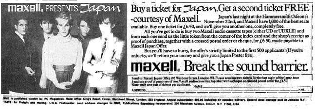 Maxell tour advert